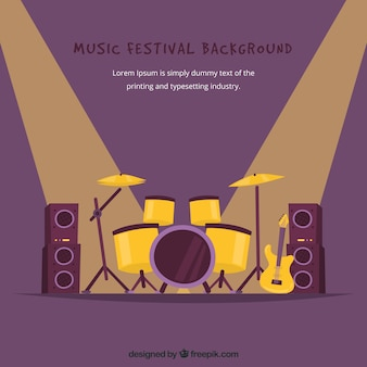 Muziekfestivalachtergrond met trommels op stadium