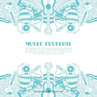 Muziekfestivalachtergrond met verschillende instrumenten