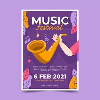 Muziekfestivalaffiche 2021 geïllustreerd