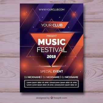 Muziekfestivalaffiche in abstracte stijl