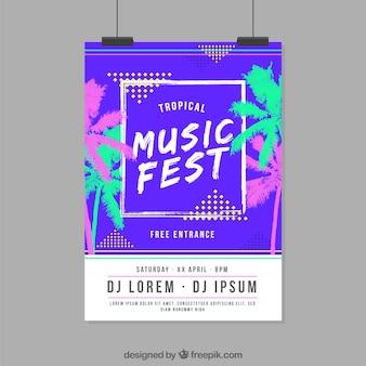 Muziekfestivalaffiche in plat ontwerp