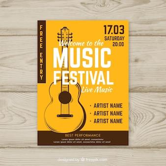 Muziekfestivalaffiche in vlakke stijl
