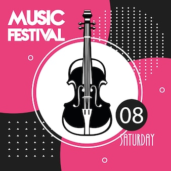 Muziekfestivalaffiche met cello-instrument.
