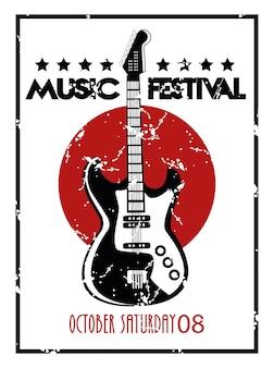 Muziekfestivalaffiche met elektrisch gitaarinstrument op witte achtergrond.