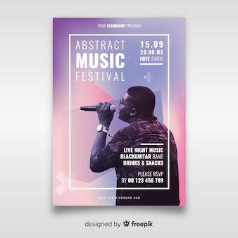 Muziekfestivalaffiche met foto