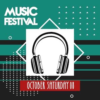 Muziekfestivalaffiche met hoofdtelefoonaudioapparaat.