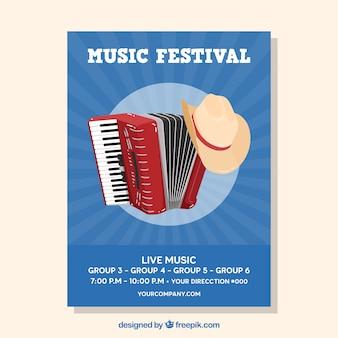 Muziekfestivalaffiche met instrumenten in vlakke stijl