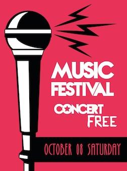 Muziekfestivalaffiche met microfoonaudio op roze achtergrond.