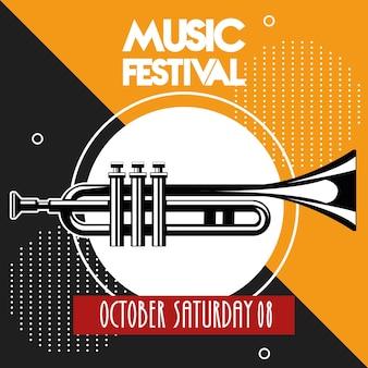 Muziekfestivalaffiche met trompetinstrument.