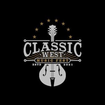 Muziekfestivallogo met klassiek en vintage gitaarsymbool