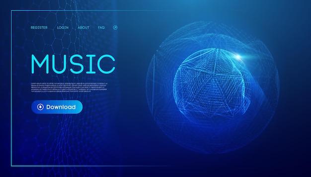 Muziekgolftechnologie bol vector deeltje big data visualisatie van matrix equalizer voor muziek