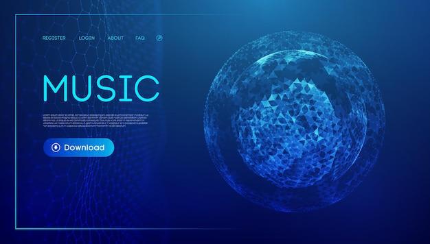 Muziekgolftechnologie bol vector deeltje big data visualisatie van matrix