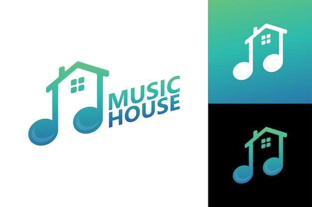Muziekhuis logo sjabloon premium vector