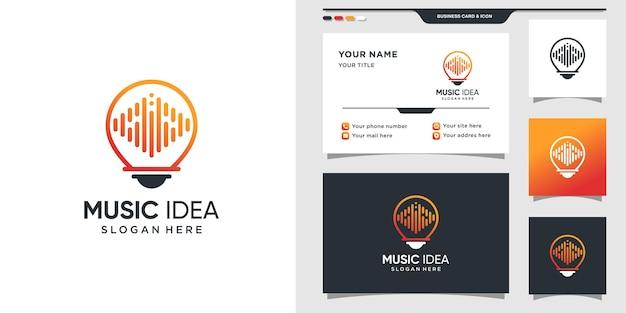 Muziekidee-logo met gloeilampstijl en visitekaartjeontwerp
