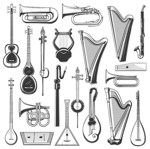 Muziekinstrument geïsoleerde schetsen