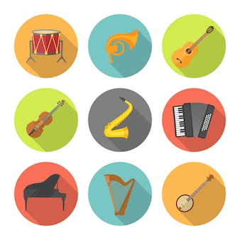 Muziekinstrument in kleurrijke cirkels