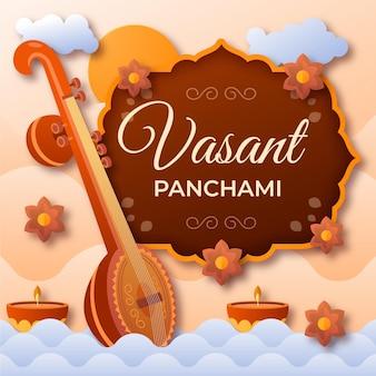 Muziekinstrument in papierstijl, vrolijke vasant panchami