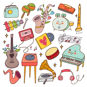 Muziekinstrument kawaii doodle set