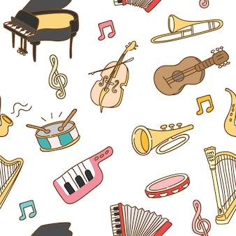 Muziekinstrument naadloze patroon achtergrond