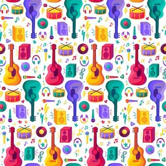 Muziekinstrument plat naadloze patroon
