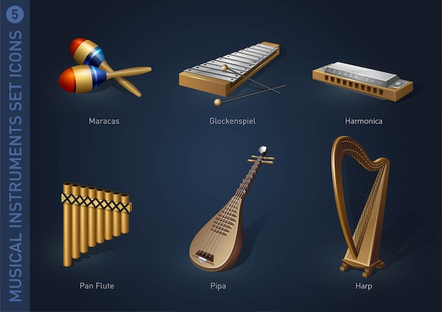 Muziekinstrument stock iconen deel 5