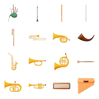 Muziekinstrument vector cartoon pictogramserie. geïsoleerde vector illustratie doedelzak, klarinet en fluit. pictogram set van muziekinstrument