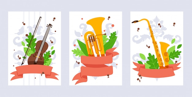Muziekinstrument. viool, tuba en saxofoon in vlakke stijl.
