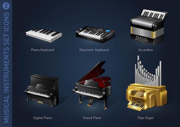 Muziekinstrument voorraad iconen deel 2
