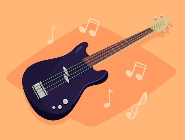 Muziekinstrument zwarte basgitaar met groene snaren