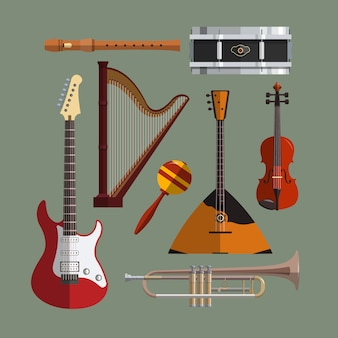 Muziekinstrumenten collectie. platte ontwerp illustratie met muzikale objecten, gitaar, viool, balalaika, trommel, harp, pijp, trompet.
