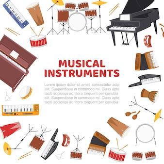 Muziekinstrumenten frame voor live muziek concert sjabloon