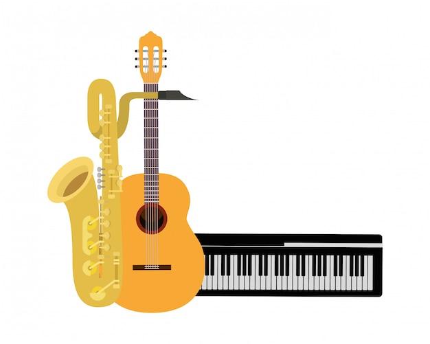 Muziekinstrumenten geïsoleerd