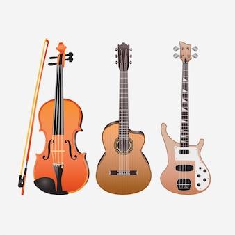 Muziekinstrumenten gitaren viool akoestisch