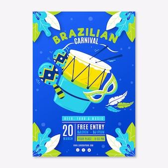 Muziekinstrumenten hand getekende braziliaanse carnaval party flyer