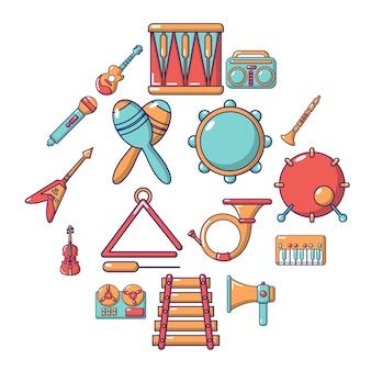 Muziekinstrumenten icon set, cartoon stijl