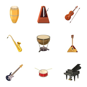 Muziekinstrumenten iconen set, cartoon stijl