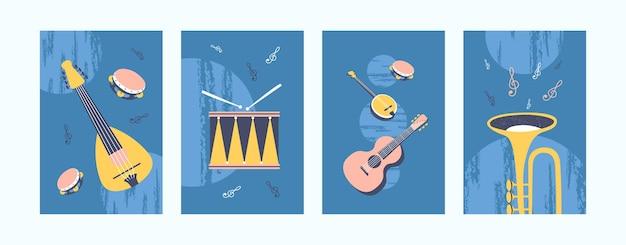 Muziekinstrumenten illustraties in pastelkleuren.
