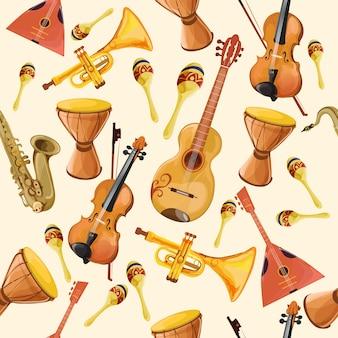 Muziekinstrumenten naadloos patroon