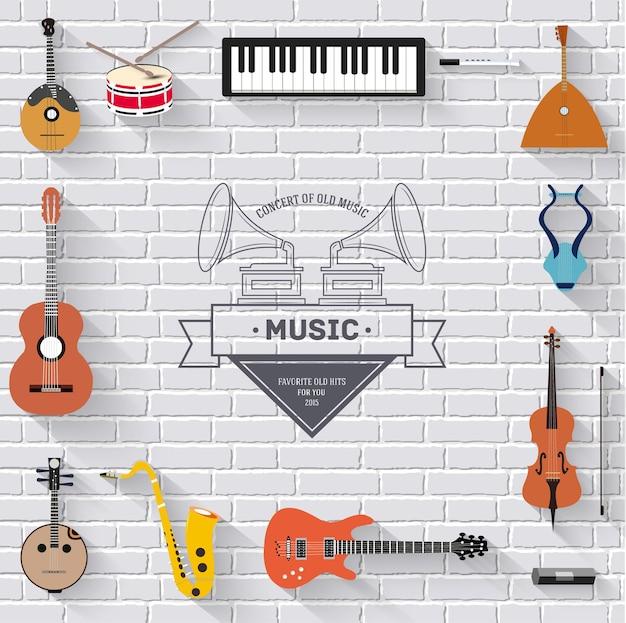 Muziekinstrumenten op wit modern bakstenen muurconcept