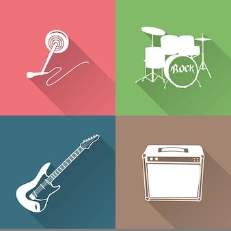 Muziekinstrumenten pictogram illustratie. creatieve en luxe hoes