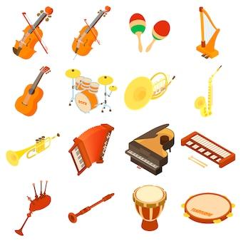 Muziekinstrumenten pictogrammen instellen. isometrische illustratie van 16 muziekinstrumenten vector iconen voor web