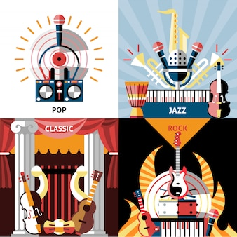 Muziekinstrumenten samenstelling platte set. pop, jazz, klassiek en rock