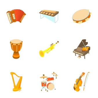Muziekinstrumenten set, cartoon stijl