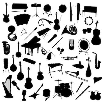 Muziekinstrumenten silhouet illustraties