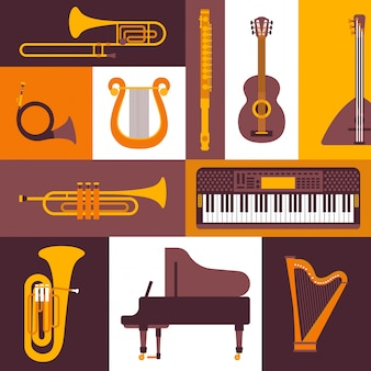 Muziekinstrumenten vlakke stijl pictogrammen illustratie. collage van geïsoleerde emblemen en stickers. piano, toetsenbord, fluit, koperblazers en strijkinstrumenten.