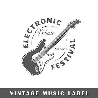 Muzieklabel op witte achtergrond. element. sjabloon voor logo, bewegwijzering, huisstijl. illustratie