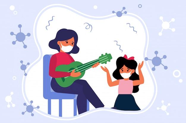 Muziekles tijdens epidemie