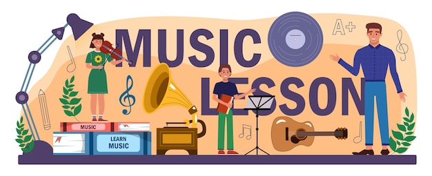 Muziekles typografische kop. studenten leren muziek spelen bij muziekclub