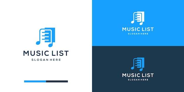 Muzieklijst logo ontwerpsjabloon