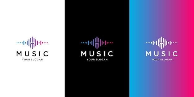 Muzieklogo-collectie met verloopstijl